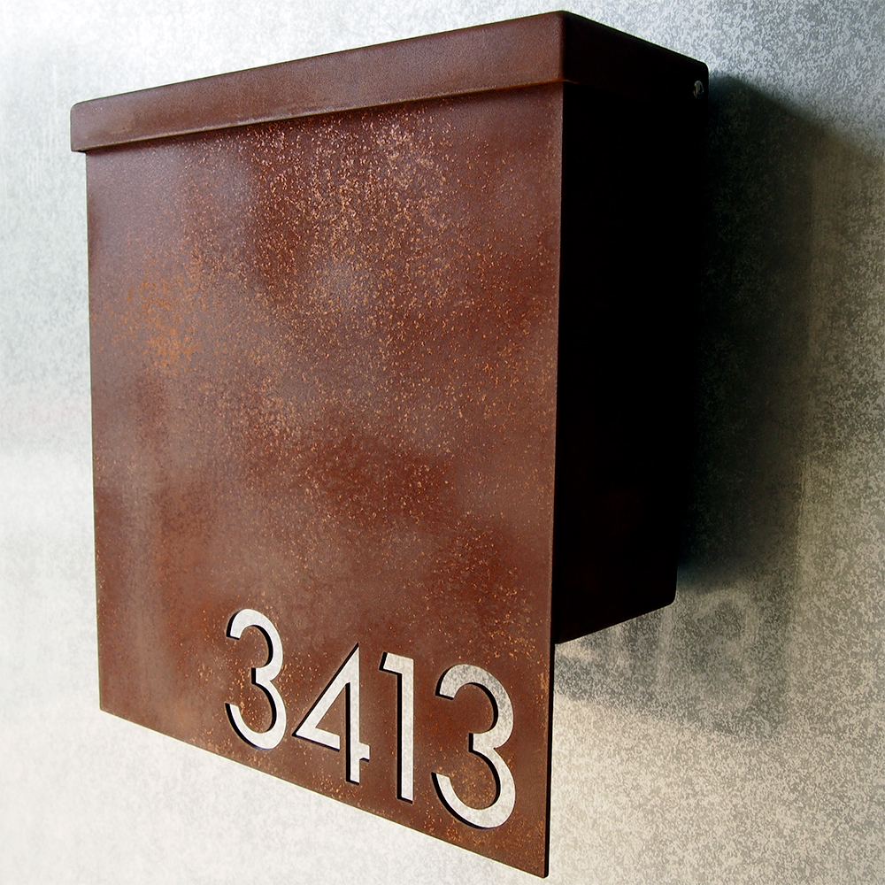 Custom Modernist House Number Mailbox No 1310 Drop Front